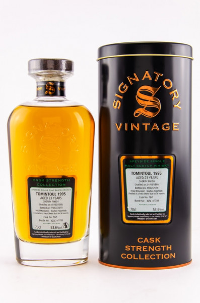 Tomintoul 1995/2019 Signatory Cask Strength Collection 23 Jahre Gereift in: Bourbon Hogsheads 36 Monate Fresh Sherry Butt Finish 708 Flaschen 53,6 % vol