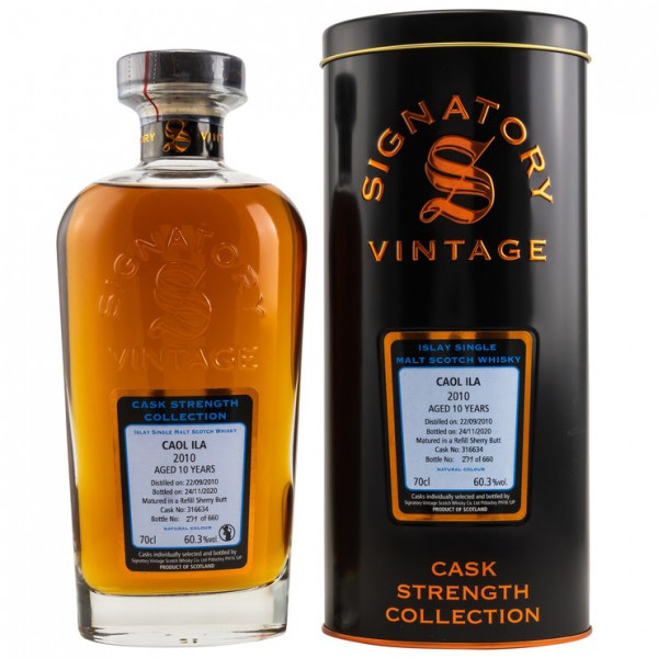 Signatory Cask Strength Collection Caol Ila 2010/20 10y 60,3 %Vol refill Sherry 660 bottles