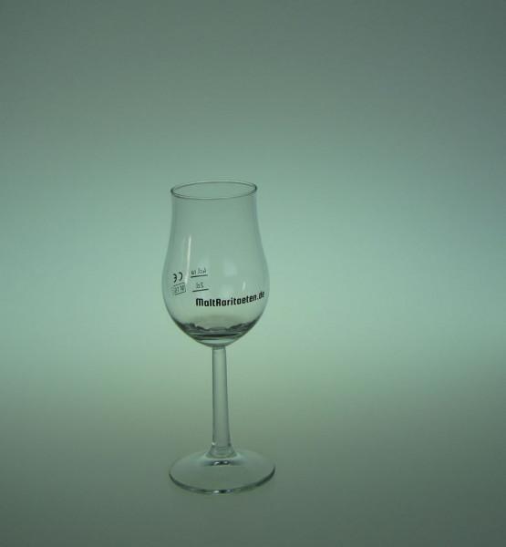 Nosing Whisky Glas Bugatti von Rastal mit Aufdruck MaltRaritaeten.de und Eichstrichen