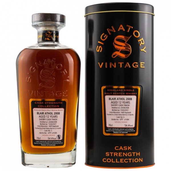 Signatory Cask Strength Collection Blair Athol 2008/21 12y 54,5 %Vol Sherry Finish 694 bottles-Copy