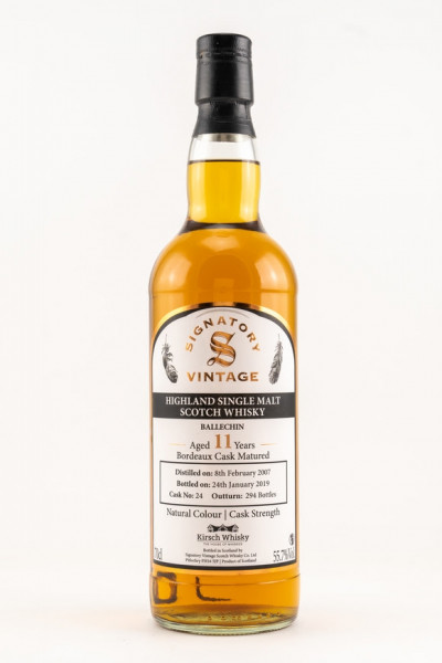 Ballechin 2007/2019 Signatory Cask Strength by Kirsch Bordeax Cask 11y 55,7 %Vol Only for Germany