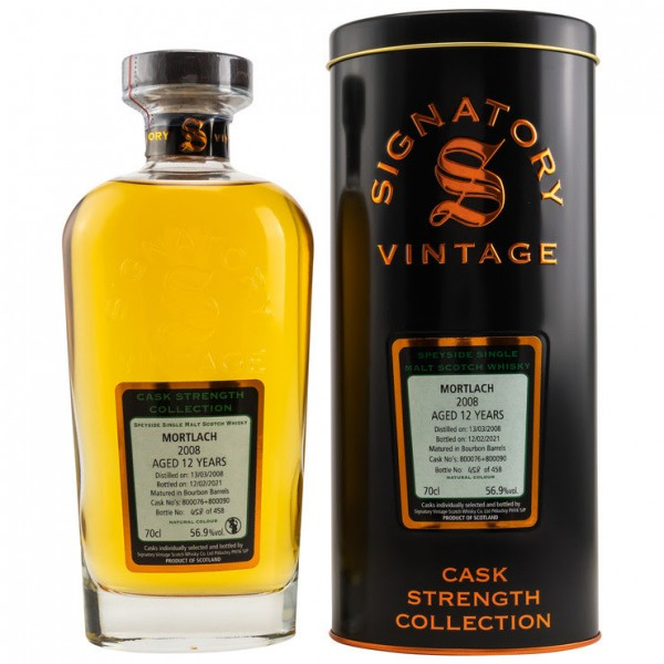Signatory Cask Strength Collection Mortlach 2008/21 12y 56,9 %Vol Bourbon Barrels 458 bottles