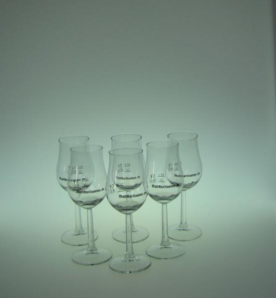 6er Pack Nosing Whisky Glas Bugatti von Rastal mit Aufdruck MaltRaritaeten.de und Eichstrichen