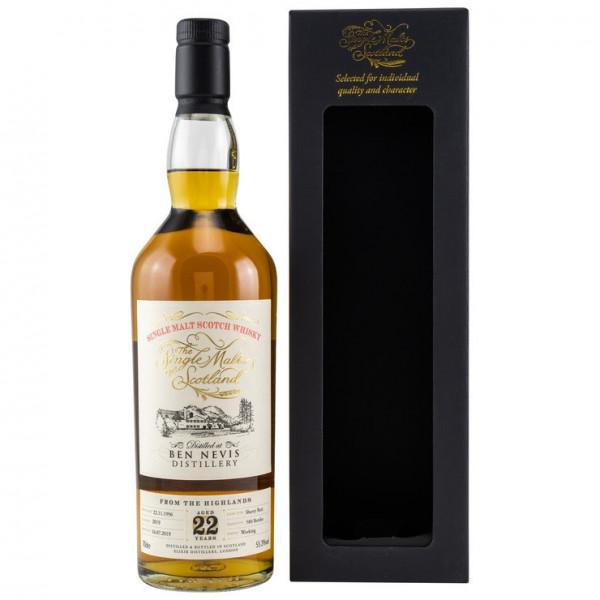 Ben Nevis 1996/2019 Single Malts of Scotland 22 Jahre Dest. 22.11.1996 Abgef. 16.07.2019 Gereift im Sherry Butt Fassnr. 2019 580 Flaschen weltweit 55,3 % Vol.