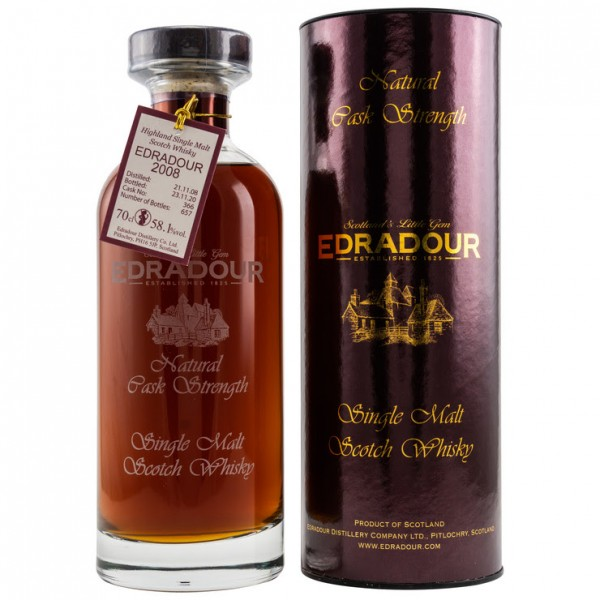 Edradour 2008/2020 Single Malt 12 y. 21/11/2008 bis 23/11/2020 Sherry Cask Fassnr. 366 58,1%Vol.