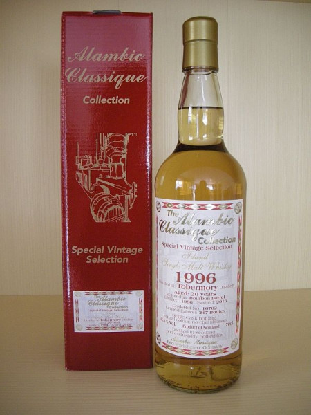 "Alambic Classique Tobermory ""Bourbon Barrel"" Jahrgang 1996 20 years old 58.8 %Vol Islands"