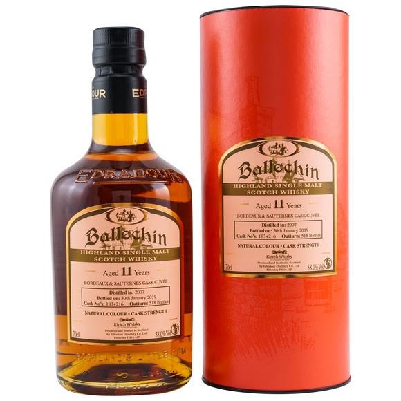 Ballechin 2007/2019 Bordeaux & Sauternes Cuvee 11 Jahre Peated Cuvee aus einem Bordeaux & Sauternes Fass Fassnr. 183+216 518 Flaschen 58,0 % vol. Fassstärke