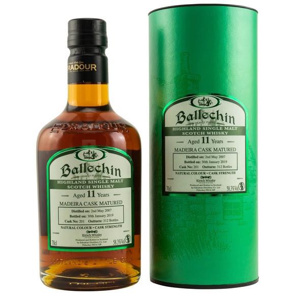 Ballechin 2007/2019 Edradour Distillery 11 Jahre Gereift im Madeira Fass Fassnr. 201 312 Flaschen 58,3 % Vol.