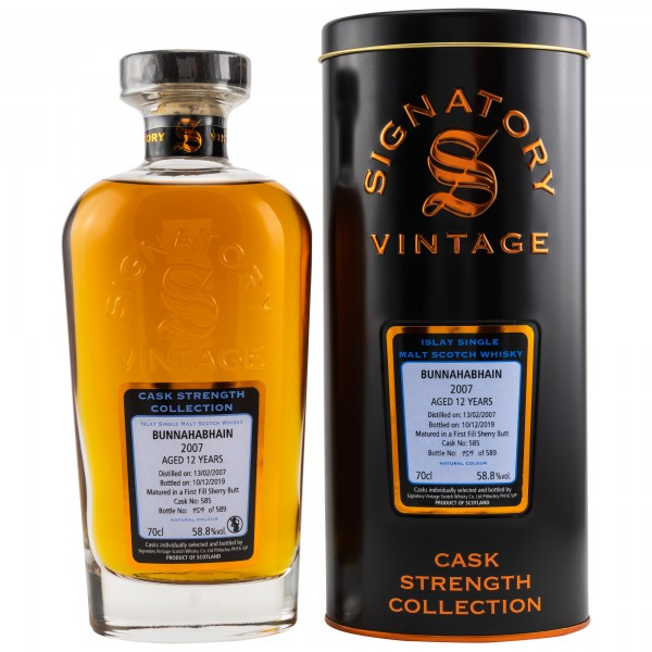 Bunnahabhain 2007/2019 First Fill Sherry No. 585 Signatory Cask Strength 58,8 %Vol 12y