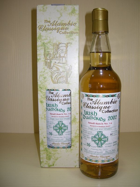 "Alambic Classique Irish Diamonds ""Batch No. 14"" ""Bourbon Barrel"" Jahrgang 2002, 16 years old, Irish Single Malt Whiskey 56.1 %Vol"
