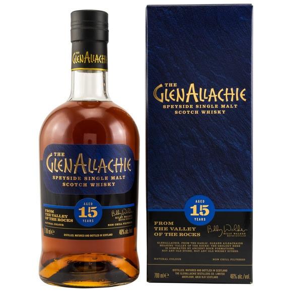 GlenAllachie 15 y.o. 15 Jahre Gereift in: 1st Fill Bourbon Casks PX Puncheon Finish Oloroso Puncheon FInish 46,0 % Vol. Nicht gefärbt Nicht kühlfiltriert