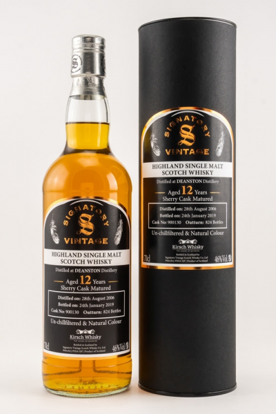 Deanston 2006/2019 Signatory Un-Chillfiltered by Kirsch 12y 46 %Vol Sherry Cask 824 Flaschen only fo